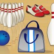 Bowling Equipment Icons — Stock Vector