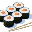 Six Pieces of Sushi — Stock Vector