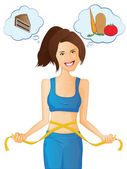 Weight-loss and Diet Woman — Stock Vector