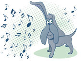 音楽を聴くハウンド ・ ドッグ — ストックベクタ