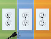 Power Outlet Faces — Stock Vector