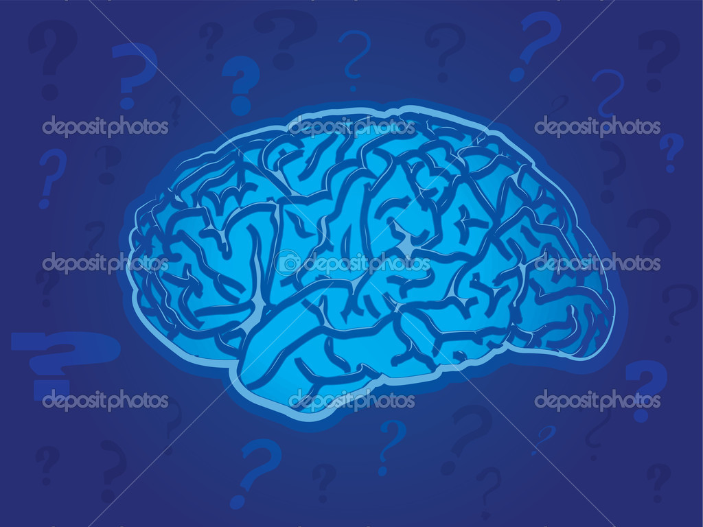 Question marks surrounding a technology brain — Stock Vector #11901536