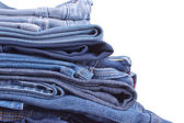Jeans trousers stack closeup — Stock Photo