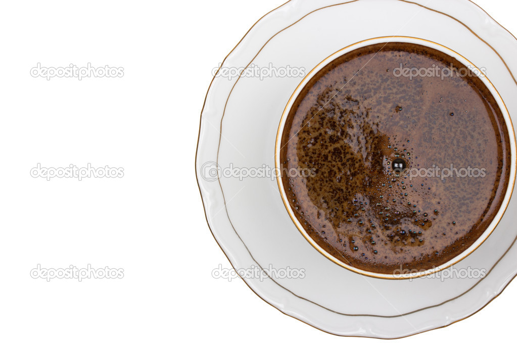 Top view of an isolated cup of coffee with bubbles. close up of coffee cup on white background with clipping path  Stock Photo #11434610