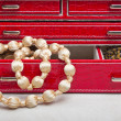 Leather red jewelry box — Stock Photo