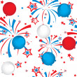 Seamless pattern of fireworks and balloons — Stock Vector
