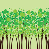 Vector of green trees, the forest — Stock Vector