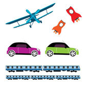 Transport vector vehicle, missile, train, car — Stock Vector
