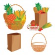 Vector of a basket of food - Stock Vector