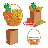 Vector of a basket of food — Stock Vector