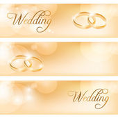 Wedding banner with the wedding rings — Stock Vector