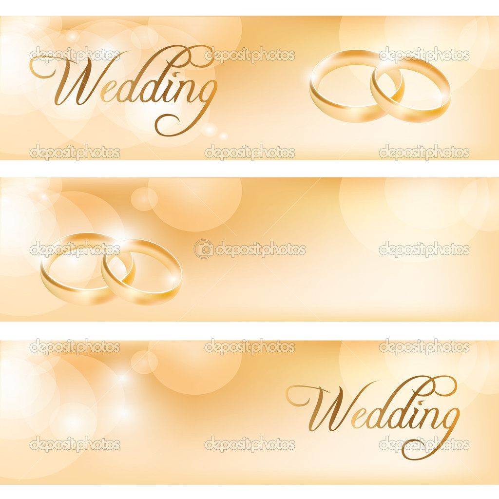 Wedding Banner With The Rings Stock Vector