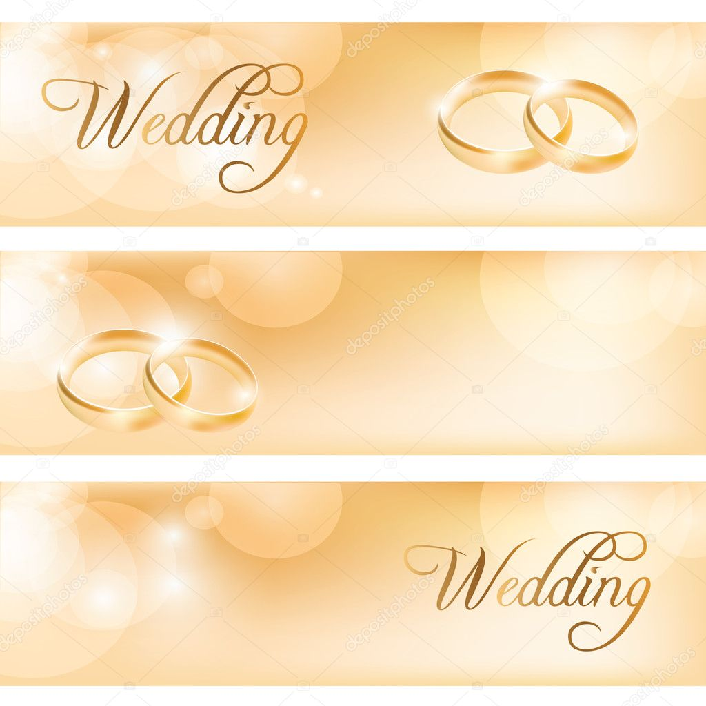Wedding banner with the wedding rings — Stock Vector #11282361