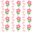 Seamless pattern of flowers and heart — Image vectorielle