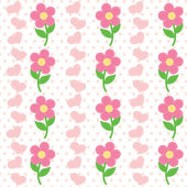 Seamless pattern of flowers and heart — Stock Vector