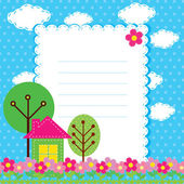 Vector background with flowers and a home for children — Stok Vektör