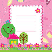 Vector background with flowers and a home for children — Cтоковый вектор