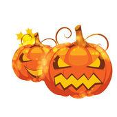 Ilustración vectorial de calabazas de halloween en fondo blanco — Vector de stock