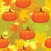 Seamless pattern of autumn leaves and pumpkins — Stock Vector