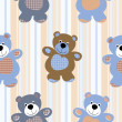 Vector seamless pattern of a toy teddy bear — Stock Vector #11853786