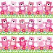 Vector seamless pattern of a toy teddy bear - Stok Vektör