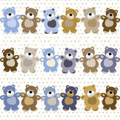 Vector seamless pattern of a toy teddy bear — Stockvector