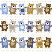 Vektor seamless mönster av en leksak nallebjörn — Stockvektor