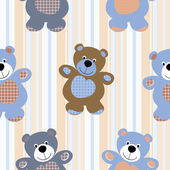 Vector seamless pattern of a toy teddy bear — Stock Vector