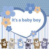 Tarjeta de felicitación con el nacimiento de un bebé varón — Vector de stock