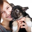 Royalty-Free Stock Photo: Beautiful woman with little puppy
