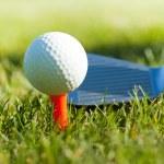 Playing golf. Golf club and ball. Preparing to shot — Stock Photo #10870058