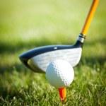 Постер, плакат: Close up on golf ball on a tee and golf club behind