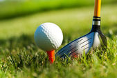 Playing golf. Golf club and ball. Preparing to shot — Stock Photo