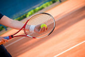 Playing tennis — Stockfoto