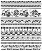 Set of decorative floral borders — Stock Vector