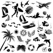 Set of vector icons of summer — Stock Vector