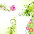 Set of flower backgrounds — Stock Vector