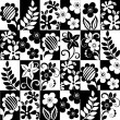 Stock Vector: Black and white floral background