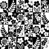 黒と白の花の背景 — ストックベクタ