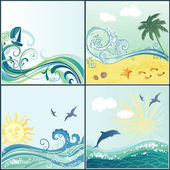 Set of maritime backgrounds — Stock Vector
