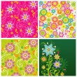 Set of summer flower backgrounds — Stock Vector
