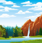 Summer landscape with waterfall, forest and clouds — Stock Vector