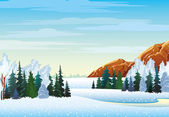 Winter landscape with forest and mountains — Stock Vector