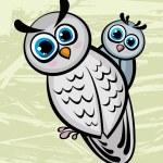 dvě kreslené vtipné sova — Stock vektor