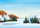 Winter landscape with village, forest and mountains — Vector de stock