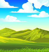 Paisagem de verão com prado verde — Vetor de Stock