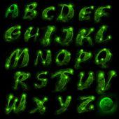 Green alphabet, set — Stock Photo