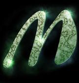 Marble alphabet, M — Stock Photo