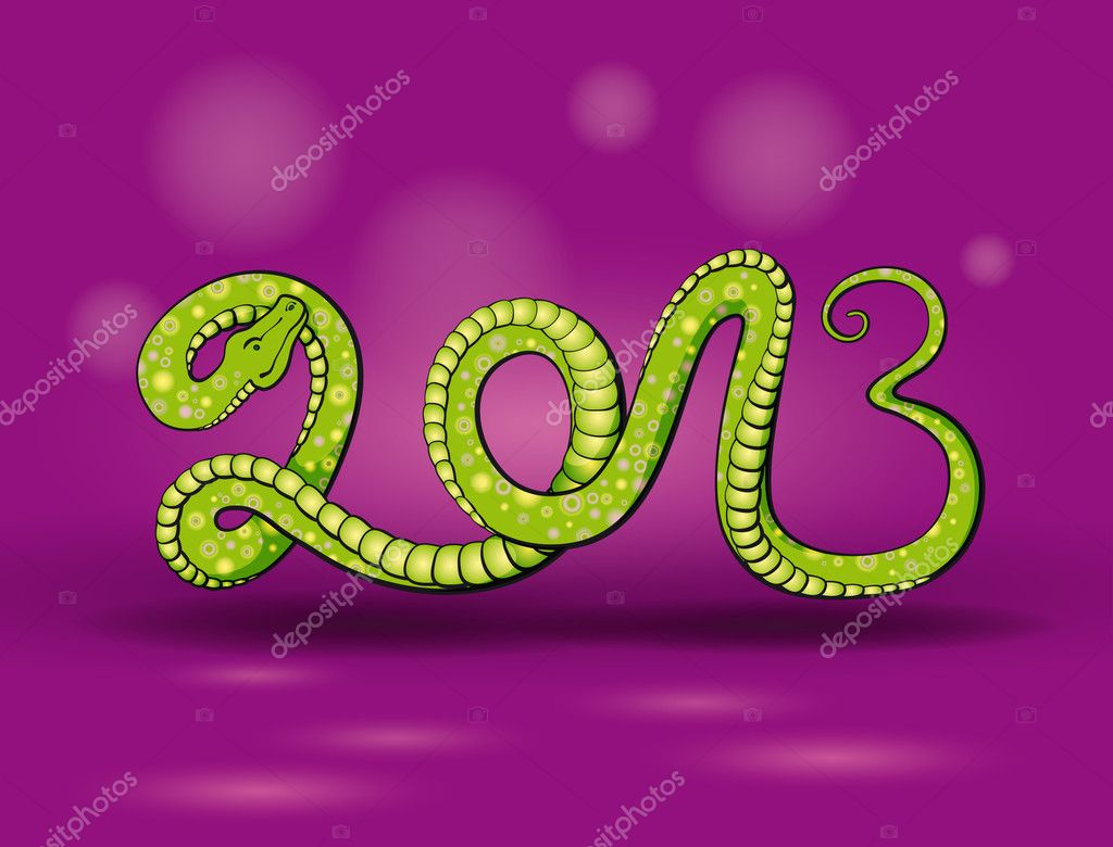 Snake in the form of inscriptions, green, 2013  Stock Vector #11456916