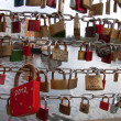 Padlocks on the bridge — Stok fotoğraf